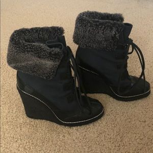 Tory Burch Shoes - Tory Burch Wedge Leather and Fur Boots